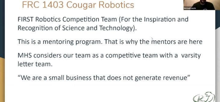 2020 Cougar Class #1: Introduction to Robotics